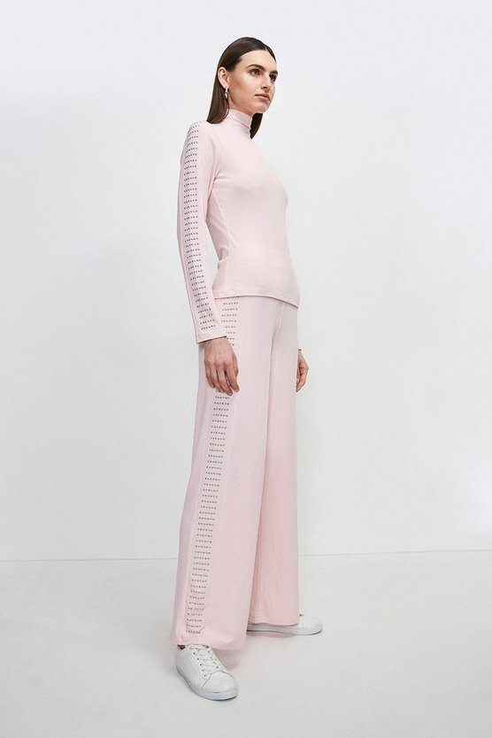 Blush Lounge Studded Jersey Rib Wide Leg Pant