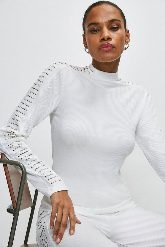 Ivory Lounge Studded Jersey Rib Top