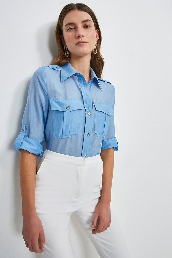 Blue Silk Cotton Shirt With Pockets