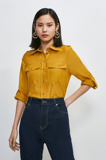 Saffron Silk Cotton Shirt With Pockets