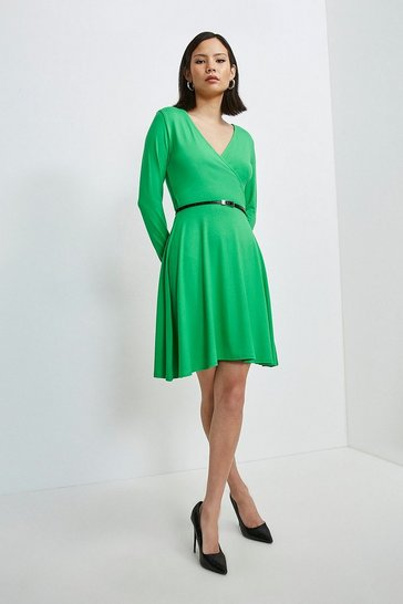 Bright green Long Sleeve Wrap Viscose Jersey Dress