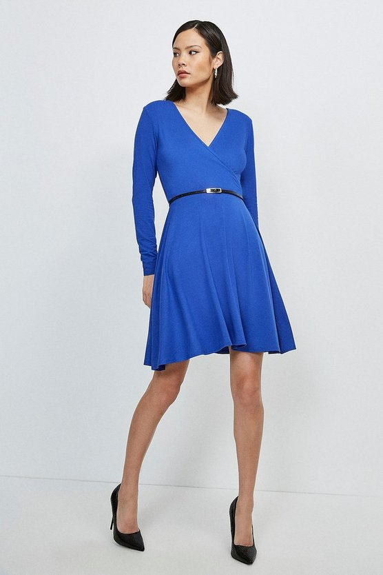 Cobalt Long Sleeve Wrap Viscose Jersey Dress