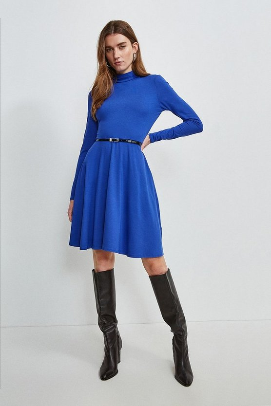 Cobalt Long Sleeve Funnel Neck Viscose Jersey Dress