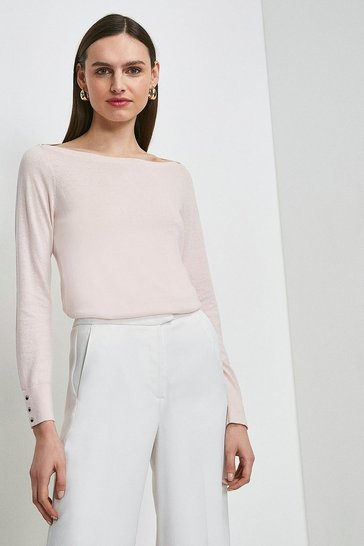 Blush Silk Blend Boat Neck Jumper