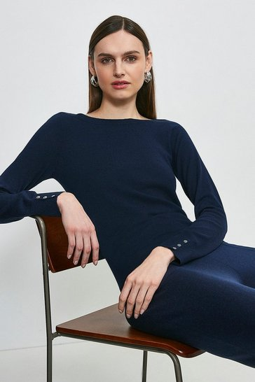 Navy Silk Blend Boat Neck Jumper