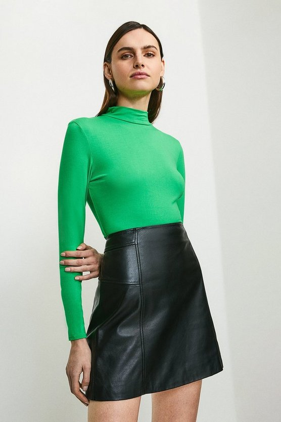 Bright green Long Sleeve Funnel Neck Viscose Jersey Top