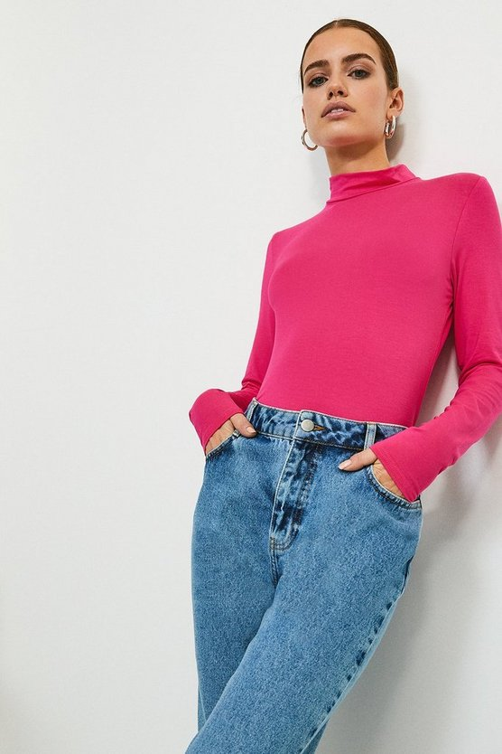 Bright pink Long Sleeve Funnel Neck Viscose Jersey Top