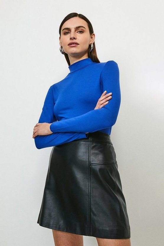 Cobalt Long Sleeve Funnel Neck Viscose Jersey Top