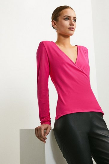 Bright pink Long Sleeve Wrap Viscose Jersey Top