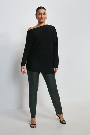 Black Curve Slinky Knitted Rib Drape Shoulder Top