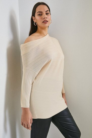 Oatmeal Curve Slinky Knitted Rib Drape Shoulder Top