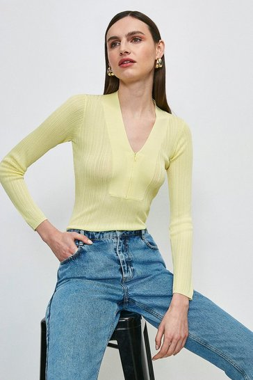 Lime Slinky Rib Zip Neck Jumper