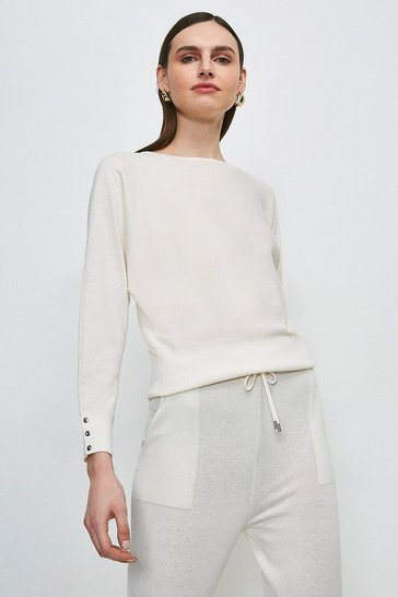 Ivory Silk Blend Batwing Knitted Jumper