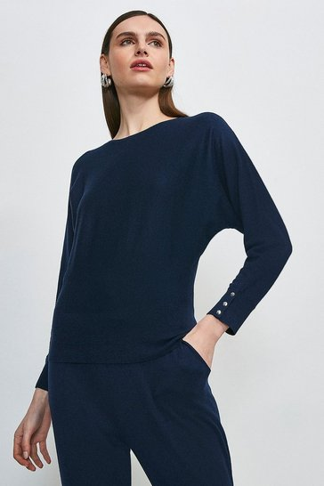 Navy Silk Blend Batwing Knitted Jumper