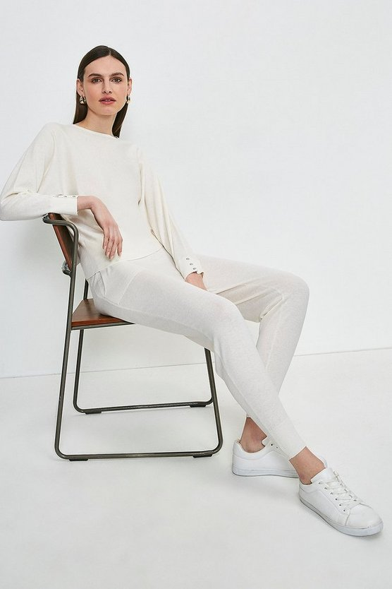 Ivory Silk Blend Knitted Jogger