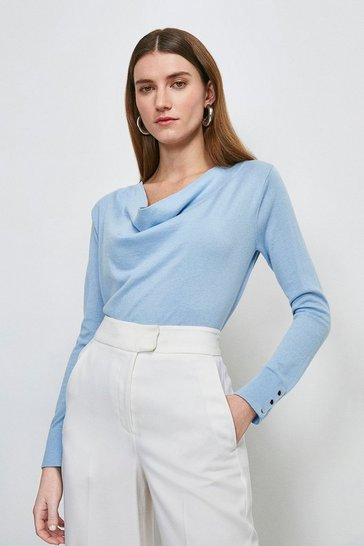 Pale blue Silk Blend Cowl Neck Jumper