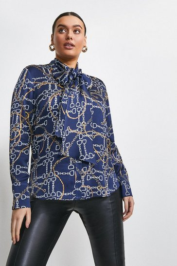 Navy Curve Chain Print Pussy Bow Blouse