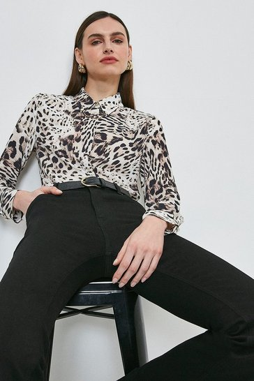Leopard Print Shirt With Chain Detail