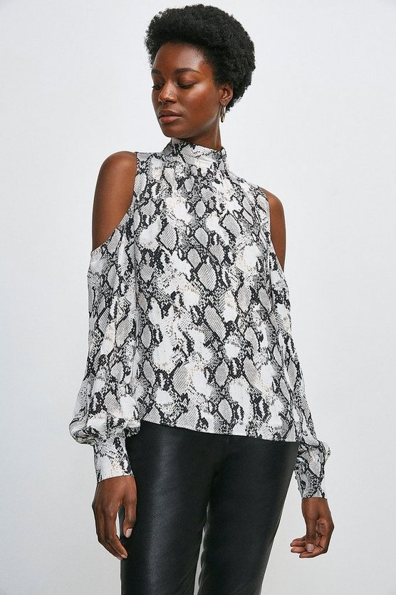 Snake Print Cold Shoulder Top