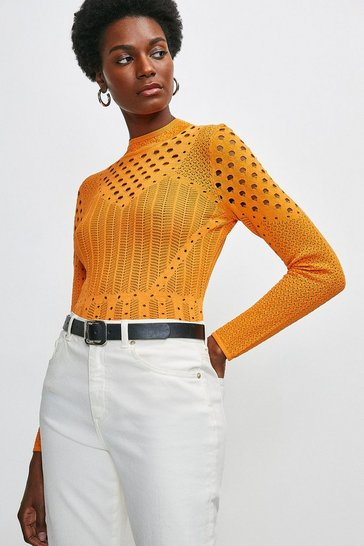 Orange Textured Mixed Stitch Knitted Top