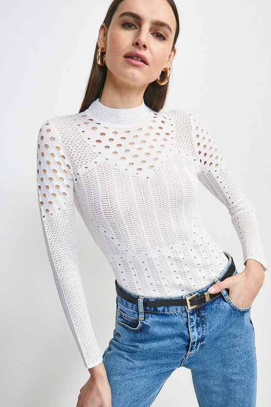 White Textured Mixed Stitch Knitted Top
