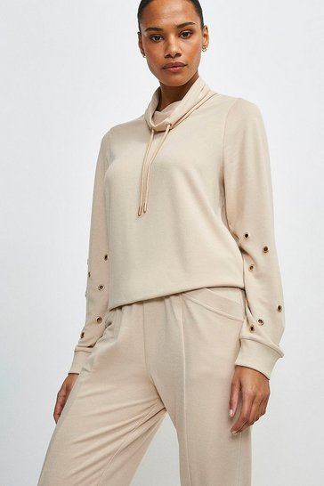 Mink Lounge Roll Neck Eyelet Jersey Top