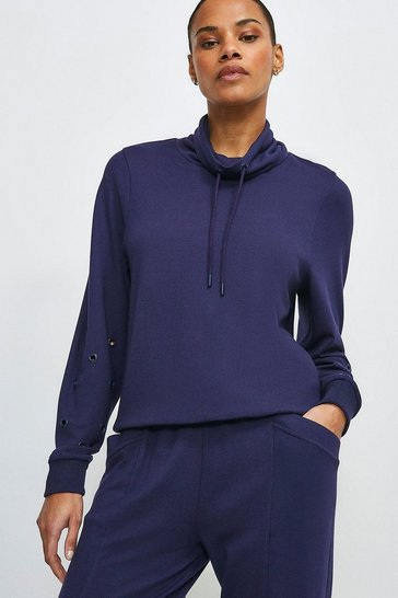 Navy Lounge Roll Neck Eyelet Jersey Top