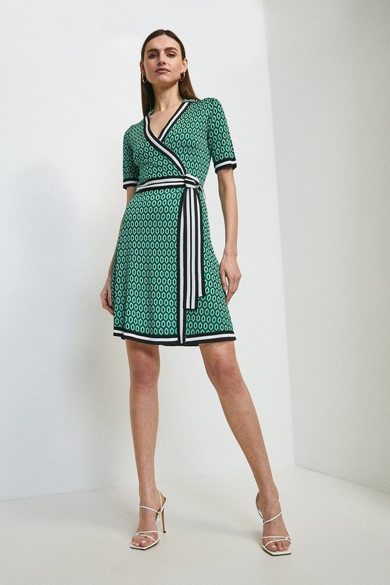 Green Geo Jacquard Wrap Knitted Dress