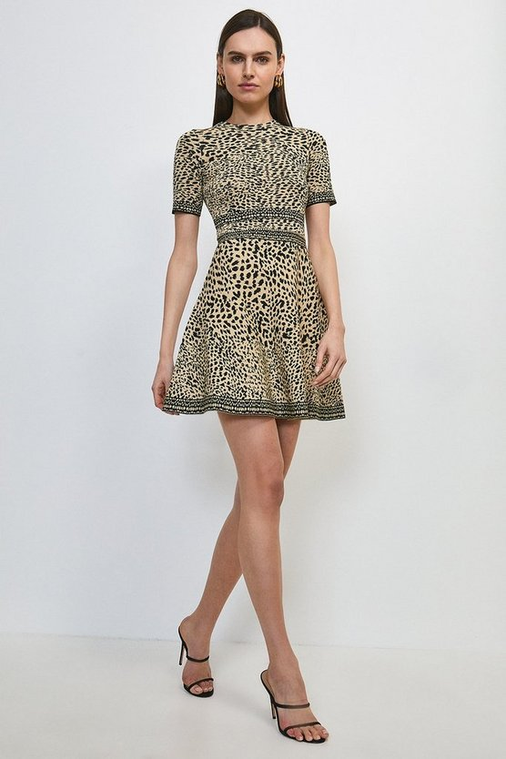 Mono Ditsy Leopard Fit And Flare Knitted Dress