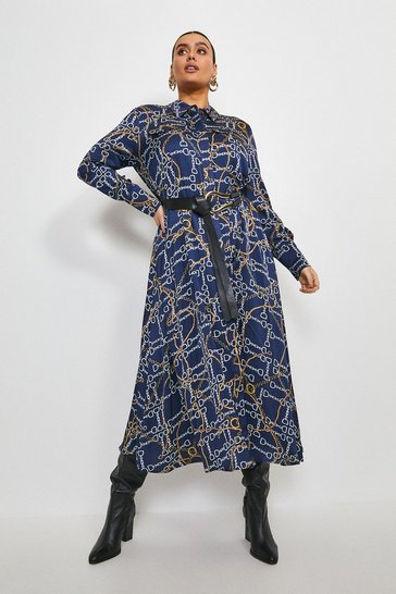 Navy Curve Chain Print Belted Shirt Dress