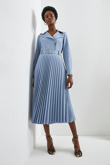 Pale blue Polished Stretch Wool Blend Biker Pleat Dress