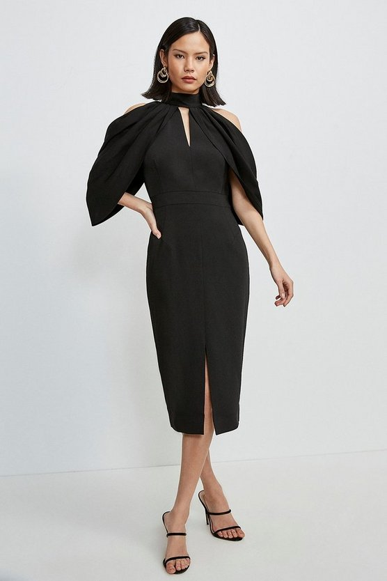 Black Compact Stretch Viscose Cold Shoulder Dress