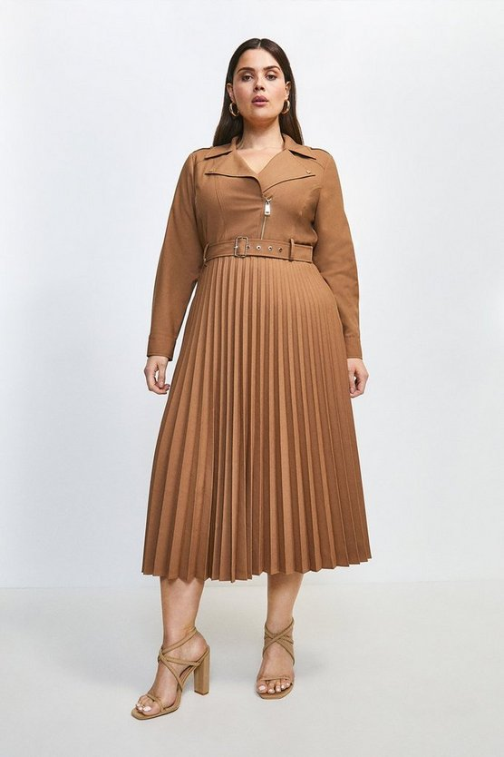 Camel Curve Polished Wool Blend Biker Pleat Dress