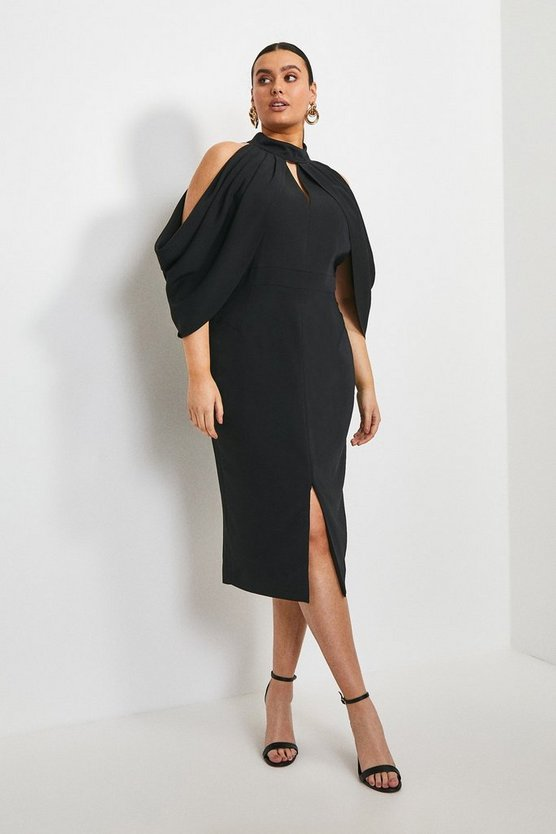 Black Curve Stretch Viscose Cold Shoulder Dress