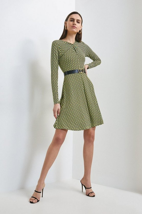 Multi Geo Print Jersey Twist Neck Belted Dress