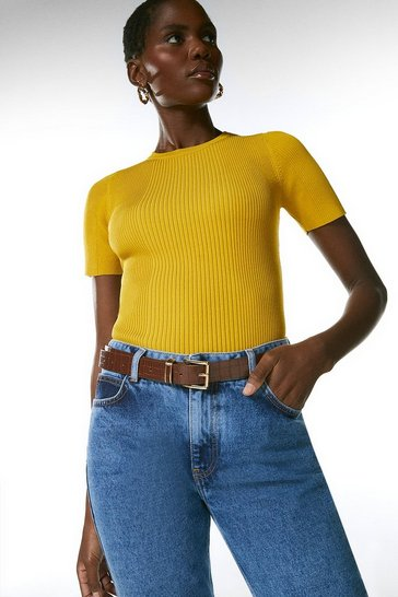 Yellow Ribbed Crew Neck Knitted Tee