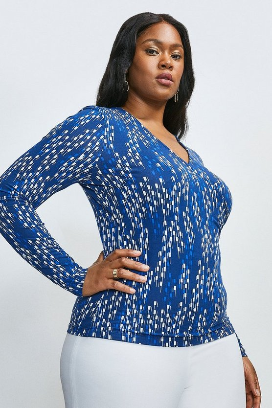 Navy Curve Linear Geo Jersey Wrap Top