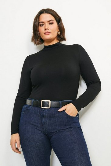 Black Curve Viscose Jersey Funnel Neck Top