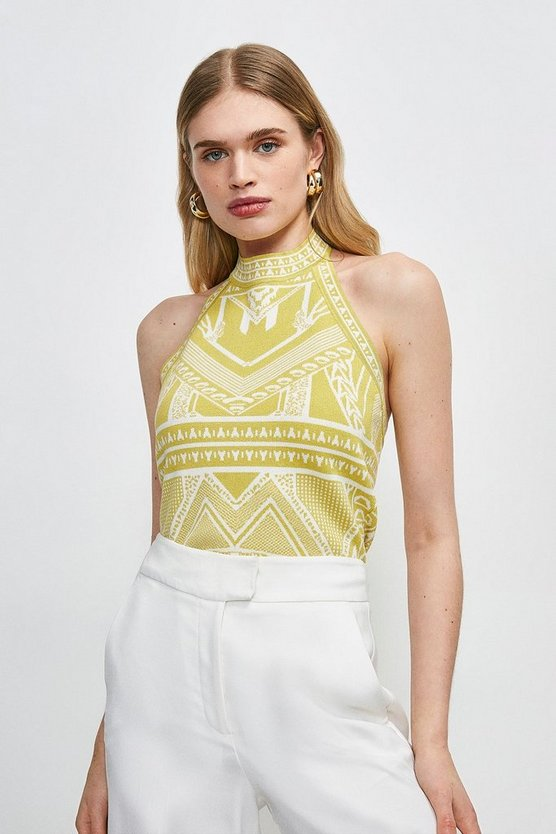 Lime Halter Neck Jacquard Knitted Top