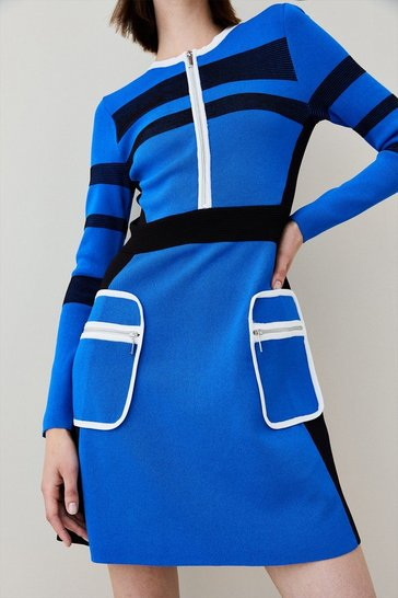 Cobalt Sporty Ripple Stitch Colour Block Dress
