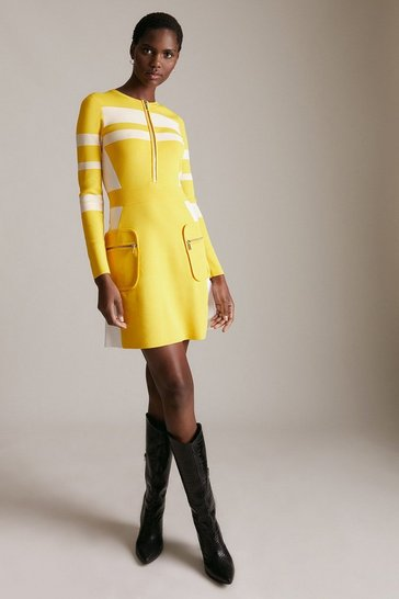 Yellow Sporty Ripple Stitch Colour Block Dress