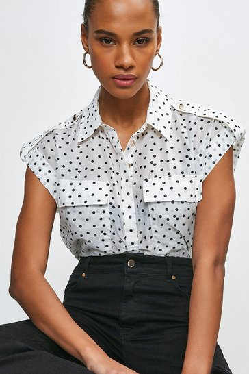 White Silk Cotton Spot Print Short Sleeved Shirt