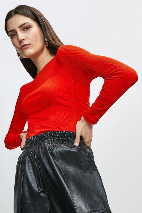 Red Jersey Rib Drape Side Top
