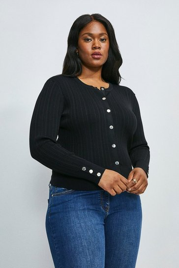 Black Curve Knitted Rib Cardigan