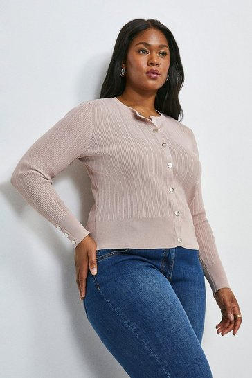 Blush Curve Knitted Rib Cardigan