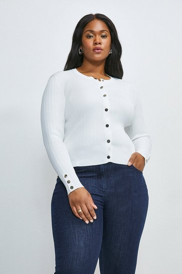 Ivory Curve Knitted Rib Cardigan