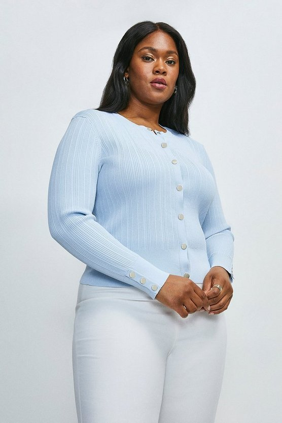 Pale blue Curve Knitted Rib Cardigan