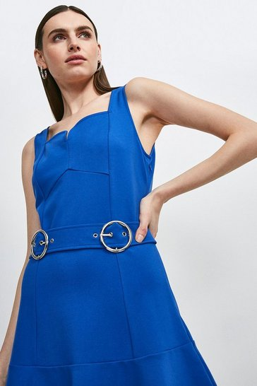 Cobalt Double Buckle Ruffle Hem Ponte Dress