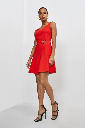 Red Double Buckle Ruffle Hem Ponte Dress