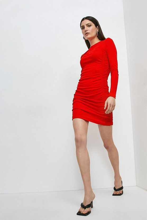 Red Jersey Rib Drape Side Dress